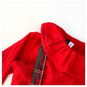 Blouse-en-gaze-de-coton-rouge-enfant-bébé-retrochic-boutique-